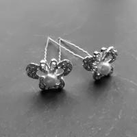 thumb-Zilverkleurige Hairpins – Butterfly - Diamantjes en Ivoorkleurige Parel - 5 stuks-3