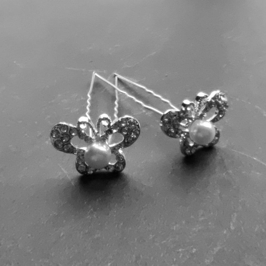 Zilverkleurige Hairpins – Butterfly - Diamantjes en Ivoorkleurige Parel - 5 stuks-3