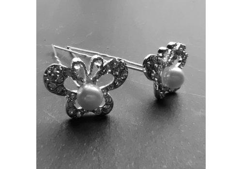 Zilverkleurige Hairpins – Butterfly - Diamantjes en Ivoorkleurige Parel - 5 stuks