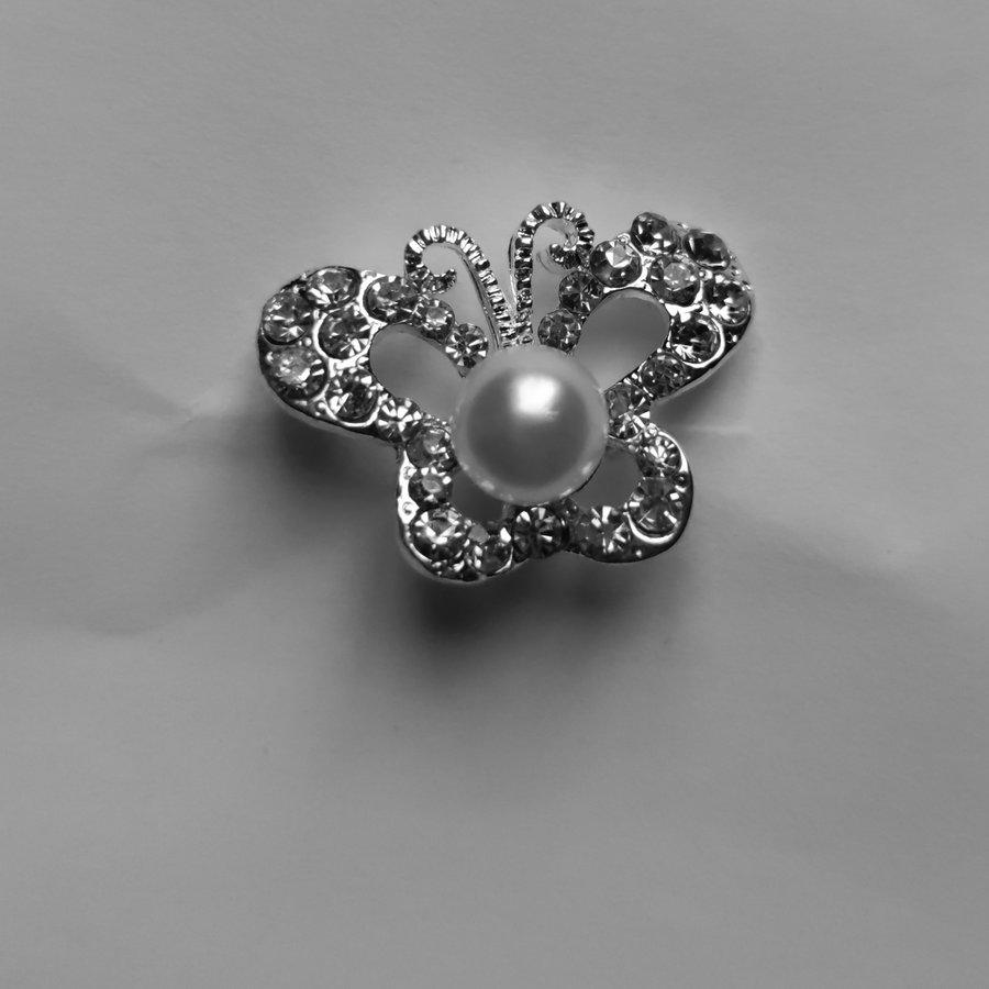 Zilverkleurige Hairpins – Butterfly - Diamantjes en Ivoorkleurige Parel - 5 stuks-2