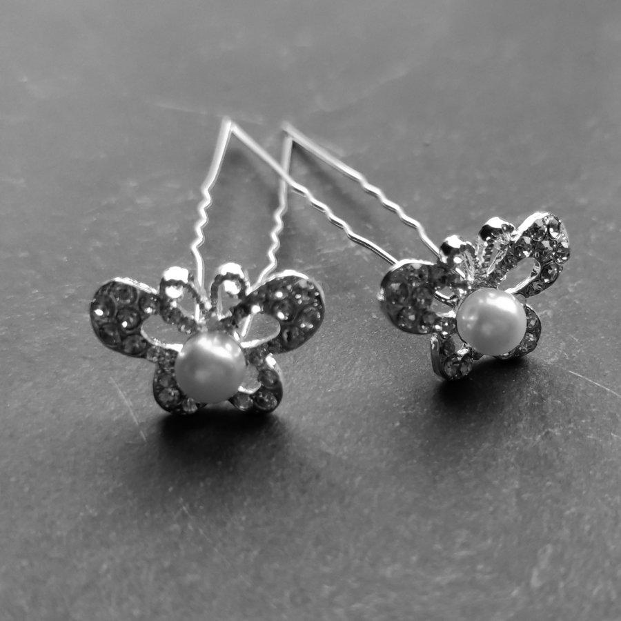 Zilverkleurige Hairpins – Butterfly - Diamantjes en Ivoorkleurige Parel - 5 stuks-4