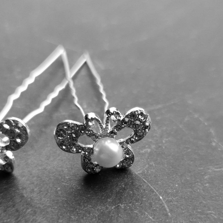 Zilverkleurige Hairpins – Butterfly - Diamantjes en Ivoorkleurige Parel - 5 stuks-7