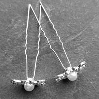 thumb-Zilverkleurige Hairpins – Butterfly - Diamantjes en Ivoorkleurige Parel - 5 stuks-5
