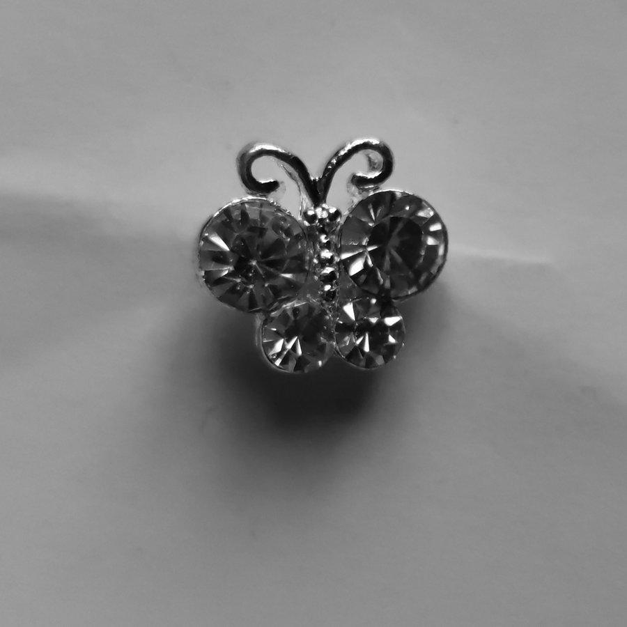 Zilverkleurige Hairpins – Vlindertje - Diamantjes - 5 stuks-4