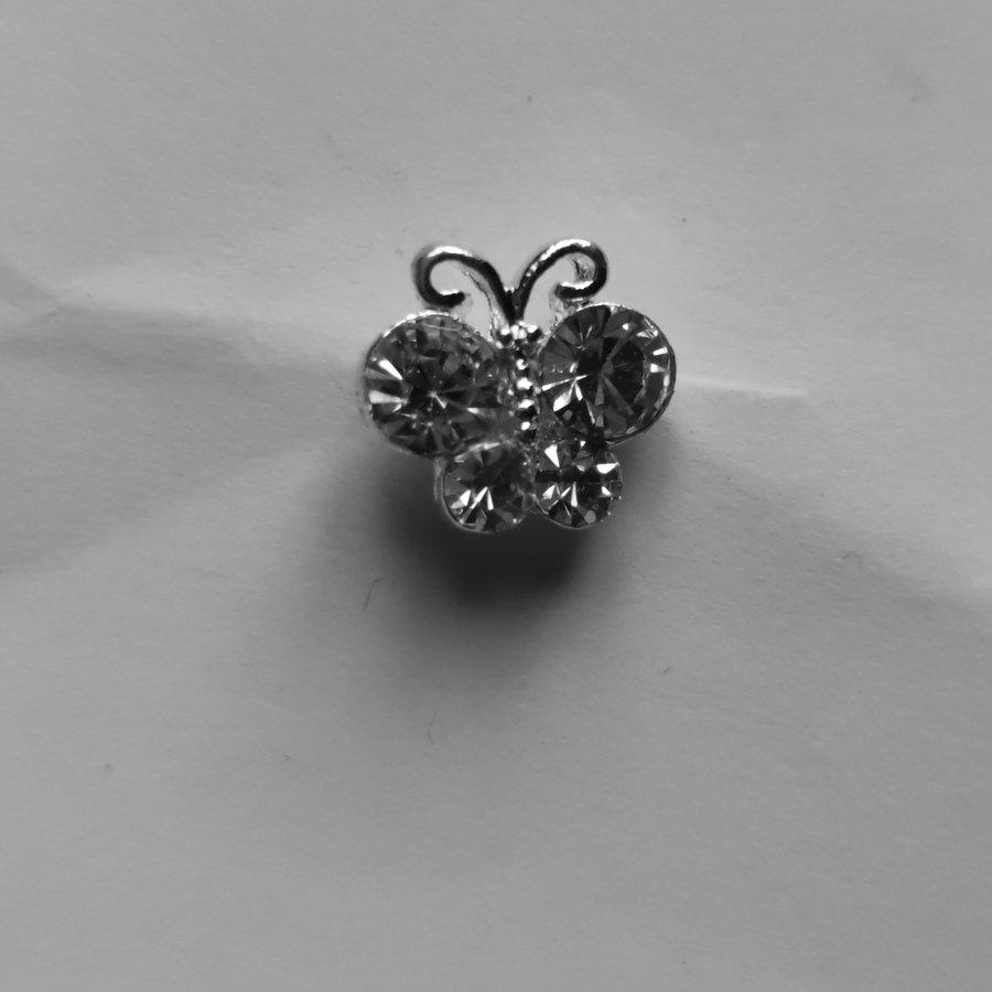 Zilverkleurige Hairpins – Vlindertje - Diamantjes - 5 stuks-5