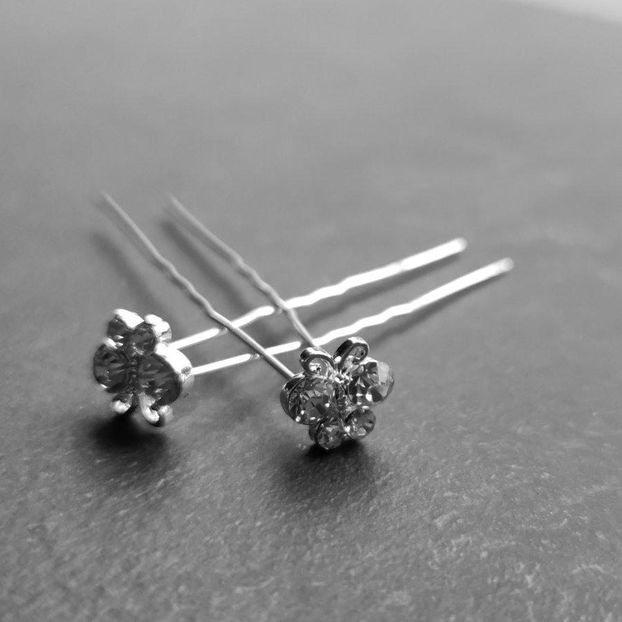 Zilverkleurige Hairpins – Vlindertje - Diamantjes - 5 stuks-3