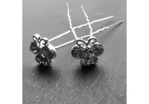 Zilverkleurige Hairpins – Vlindertje - Diamantjes - 5 stuks
