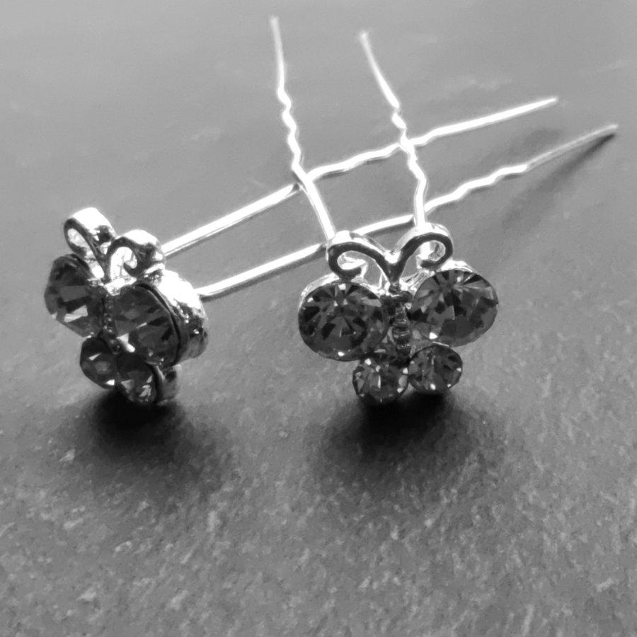 Zilverkleurige Hairpins – Vlindertje - Diamantjes - 5 stuks-1