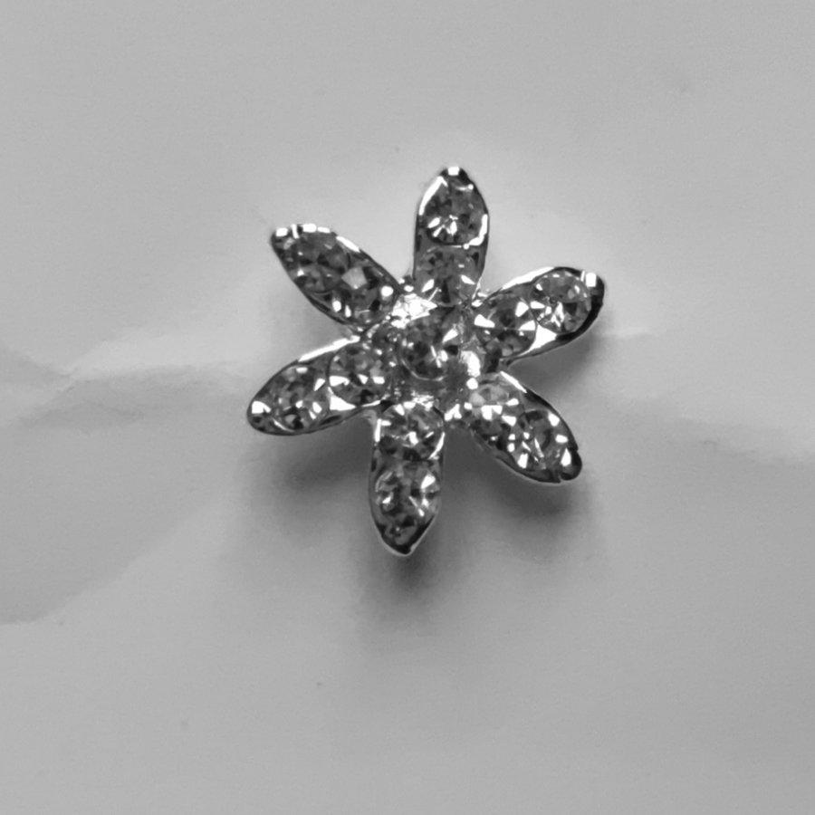 Zilverkleurige Hairpins – Fonkelende Bloem - Diamantjes - 5 stuks-3