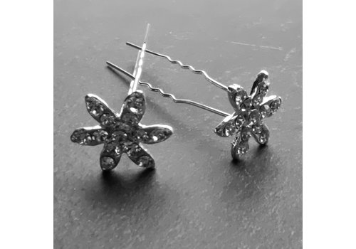 Zilverkleurige Hairpins – Fonkelende Bloem - Diamantjes - 5 stuks