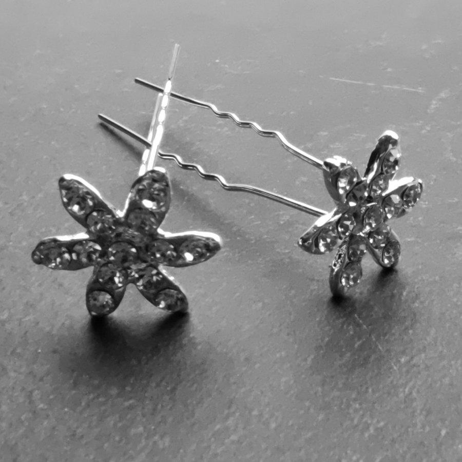 Zilverkleurige Hairpins – Fonkelende Bloem - Diamantjes - 5 stuks-1