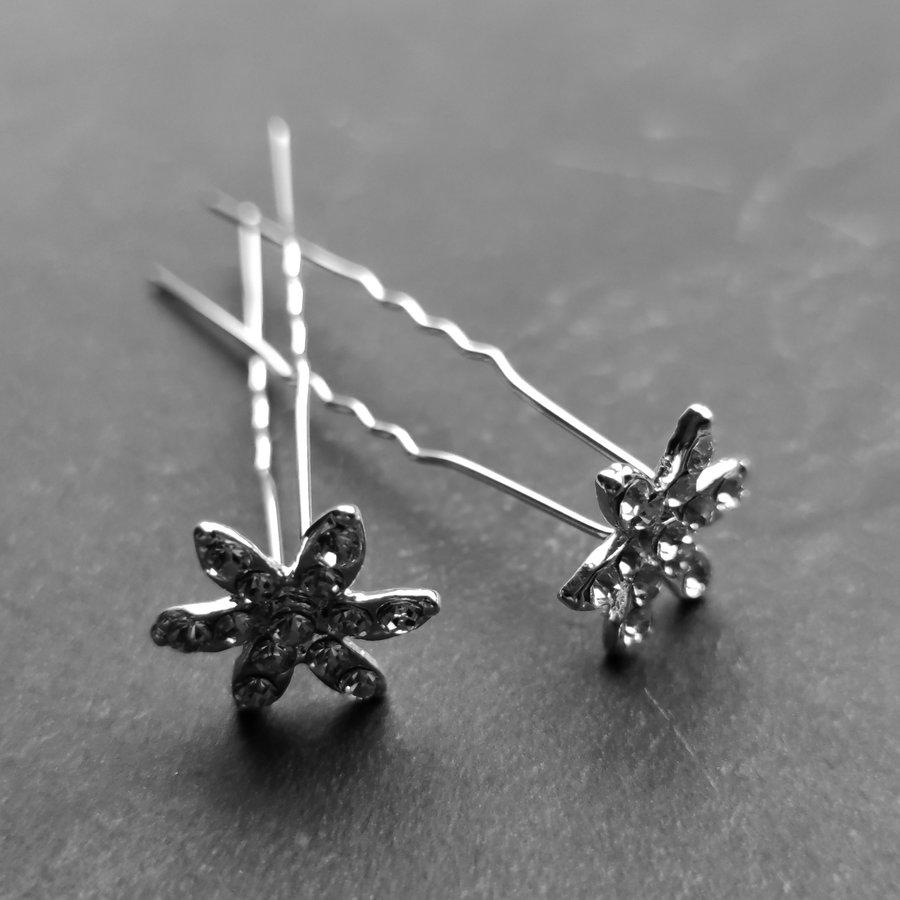 Zilverkleurige Hairpins – Fonkelende Bloem - Diamantjes - 5 stuks-4