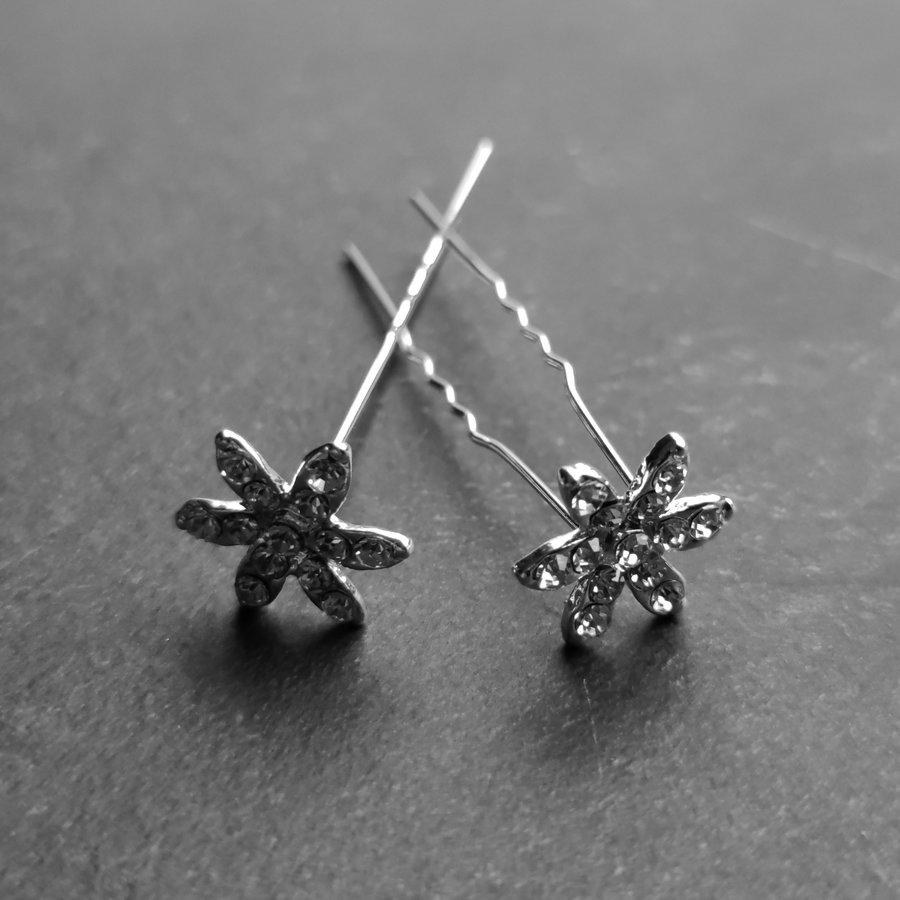 Zilverkleurige Hairpins – Fonkelende Bloem - Diamantjes - 5 stuks-2