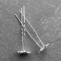 thumb-Zilverkleurige Hairpins – Fonkelende Bloem - Diamantjes - 5 stuks-5