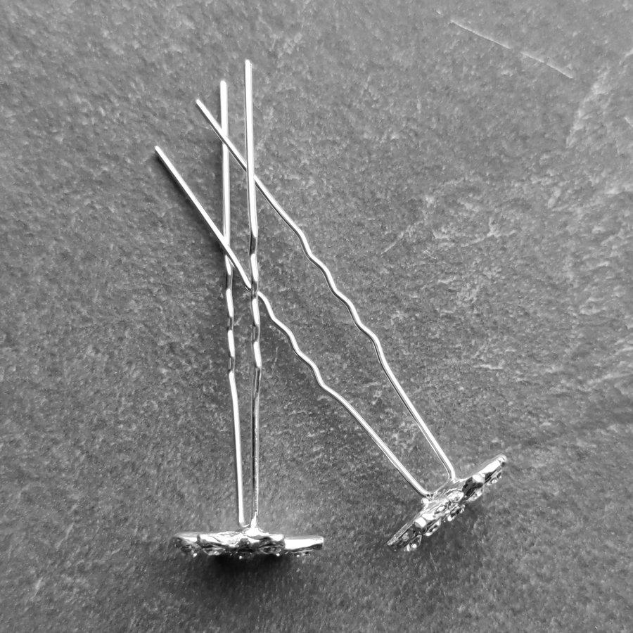 Zilverkleurige Hairpins – Fonkelende Bloem - Diamantjes - 5 stuks-5