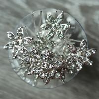 thumb-Zilverkleurige Hairpins – Fonkelende Bloem - Diamantjes - 5 stuks-6