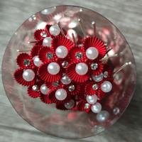 thumb-Zilverkleurige Hairpins – Rood - Diamantjes - Ivoorkleurige parel - 5 stuks-7