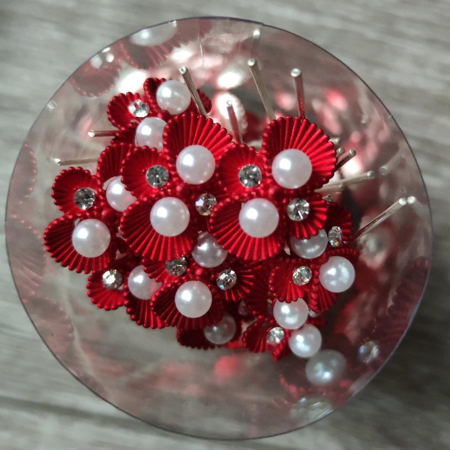 Zilverkleurige Hairpins – Rood - Diamantjes - Ivoorkleurige parel - 5 stuks-7