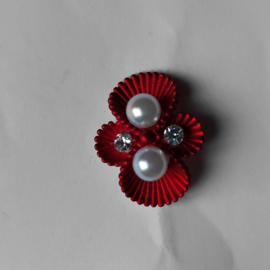 Zilverkleurige Hairpins – Rood - Diamantjes - Ivoorkleurige parel - 5 stuks-3