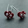 PaCaZa Zilverkleurige Hairpins – Rood - Diamantjes - Ivoorkleurige parel - 5 stuks