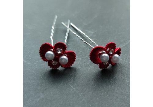 Zilverkleurige Hairpins – Rood - Diamantjes - Ivoorkleurige parel - 5 stuks