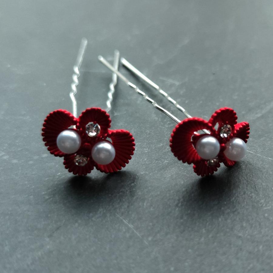Zilverkleurige Hairpins – Rood - Diamantjes - Ivoorkleurige parel - 5 stuks-1