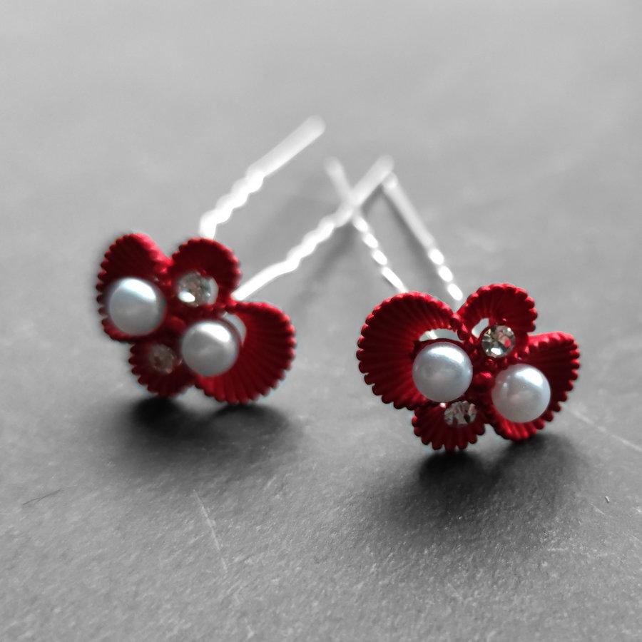 Zilverkleurige Hairpins – Rood - Diamantjes - Ivoorkleurige parel - 5 stuks-4