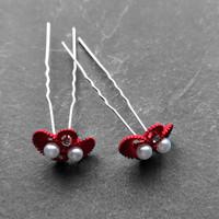 thumb-Zilverkleurige Hairpins – Rood - Diamantjes - Ivoorkleurige parel - 5 stuks-5