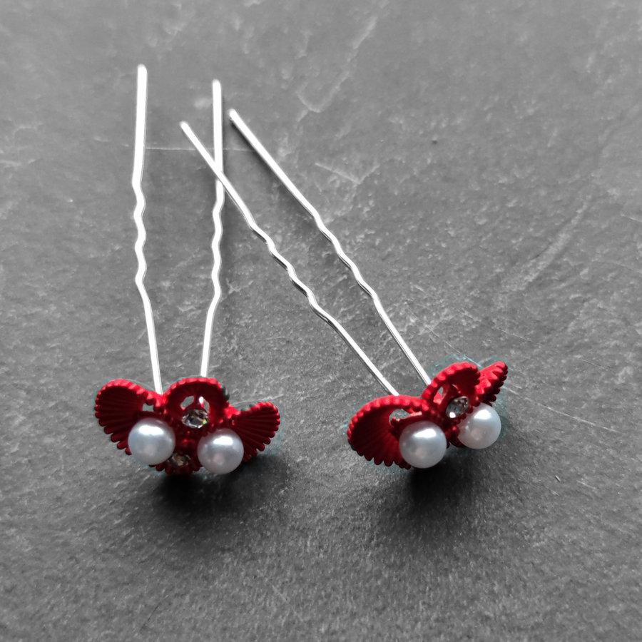 Zilverkleurige Hairpins – Rood - Diamantjes - Ivoorkleurige parel - 5 stuks-5