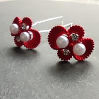 thumb-Zilverkleurige Hairpins – Rood - Diamantjes - Ivoorkleurige parel - 5 stuks-2