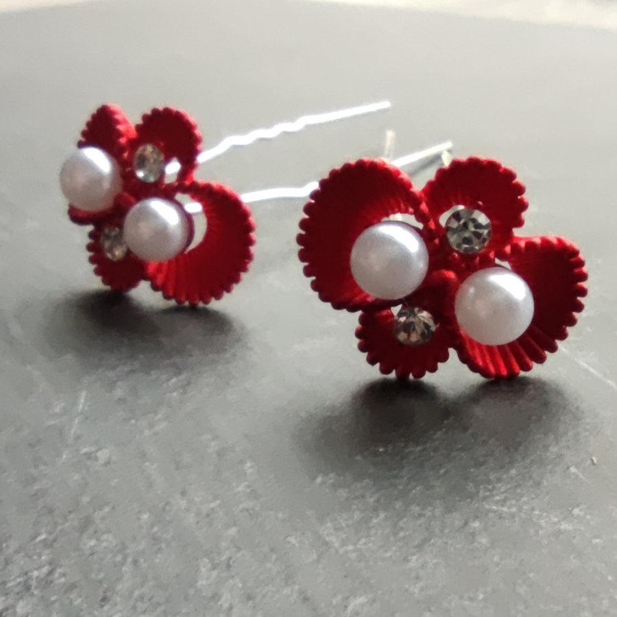 Zilverkleurige Hairpins – Rood - Diamantjes - Ivoorkleurige parel - 5 stuks-2