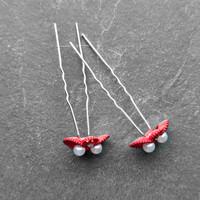 thumb-Zilverkleurige Hairpins – Rood - Diamantjes - Ivoorkleurige parel - 5 stuks-6