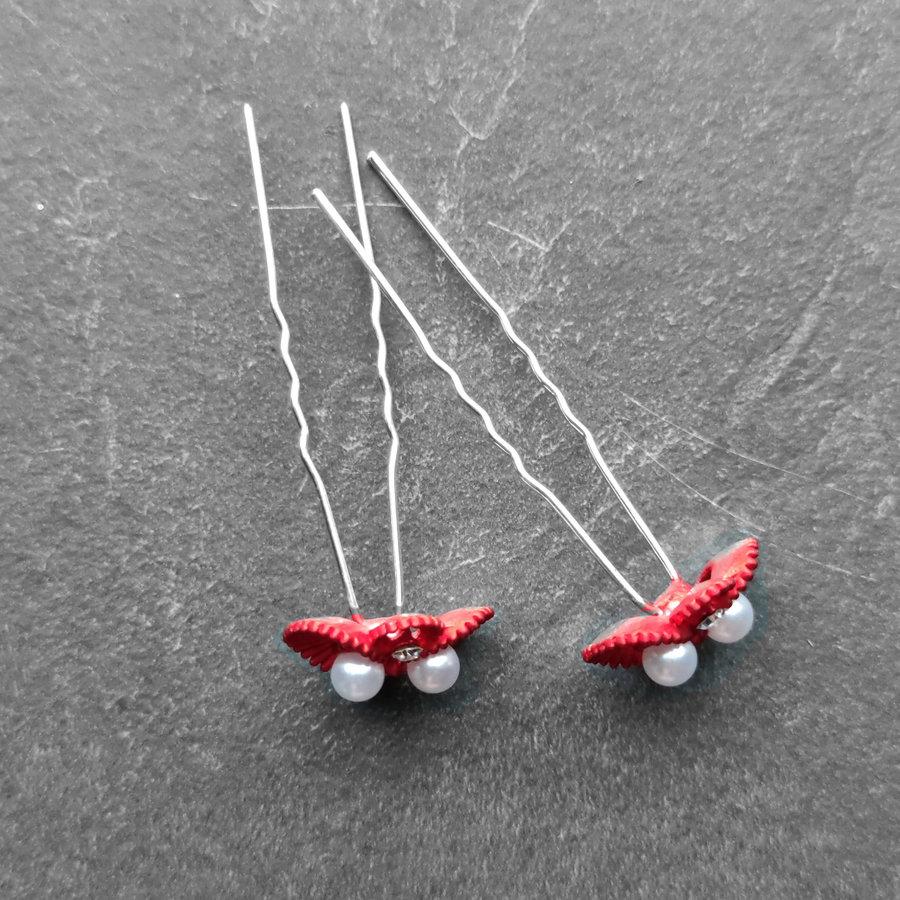 Zilverkleurige Hairpins – Rood - Diamantjes - Ivoorkleurige parel - 5 stuks-6