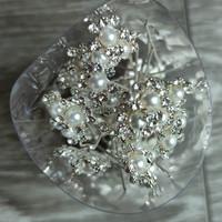 thumb-Zilverkleurige Hairpins - Bloemetjes - Diamantjes - Ivoorkleurige Parels - 5 stuks-7