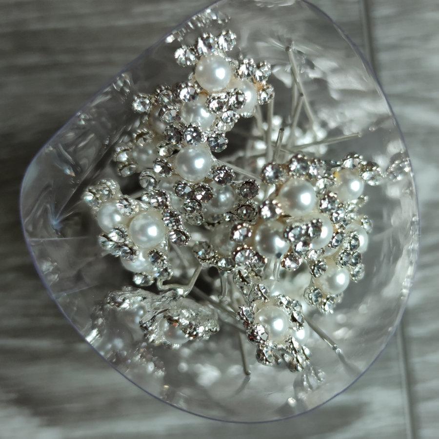 Zilverkleurige Hairpins - Bloemetjes - Diamantjes - Ivoorkleurige Parels - 5 stuks-7