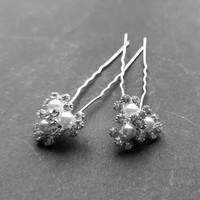 thumb-Zilverkleurige Hairpins - Bloemetjes - Diamantjes - Ivoorkleurige Parels - 5 stuks-2