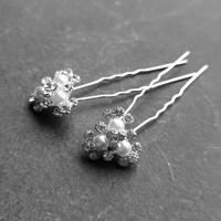 thumb-Zilverkleurige Hairpins - Bloemetjes - Diamantjes - Ivoorkleurige Parels - 5 stuks-1