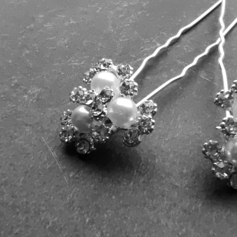 Zilverkleurige Hairpins - Bloemetjes - Diamantjes - Ivoorkleurige Parels - 5 stuks-4