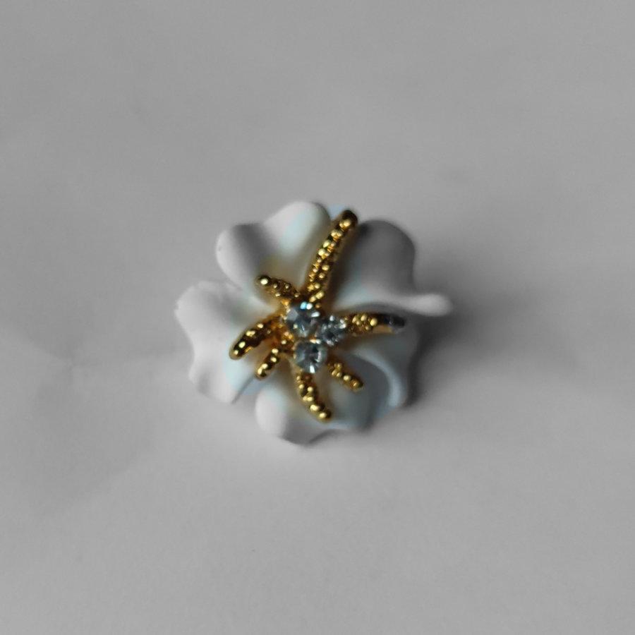 Zilverkleurige Hairpins – Bloem - Wit - Diamantjes - 2 stuks-2