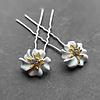 PaCaZa Zilverkleurige Hairpins – Bloem - Wit - Diamantjes - 2 stuks