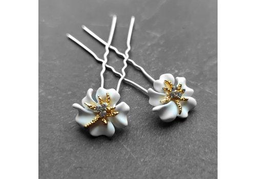Zilverkleurige Hairpins – Bloem - Wit - Diamantjes - 2 stuks