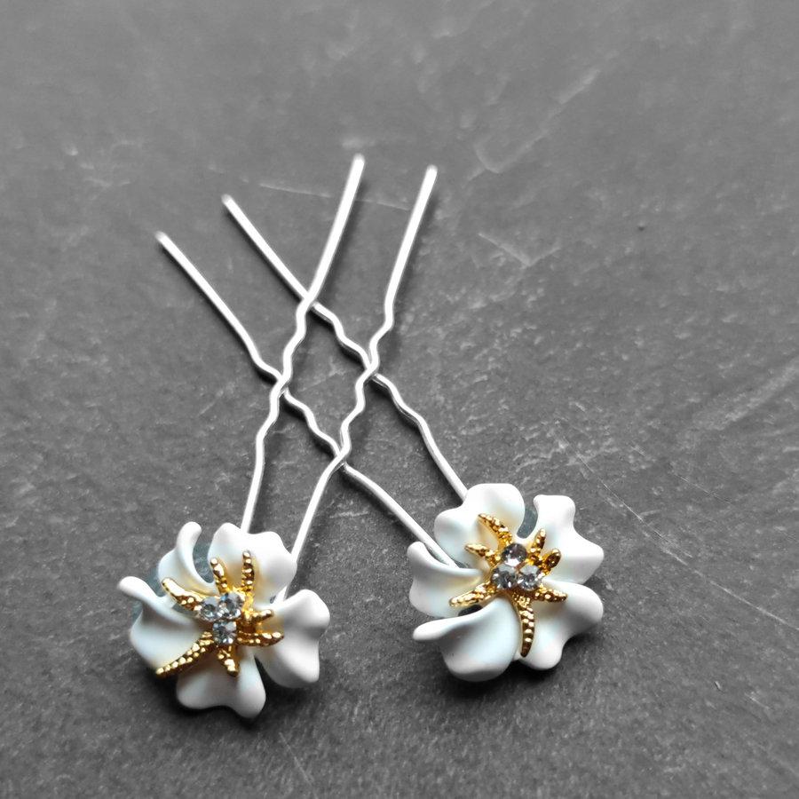 Zilverkleurige Hairpins – Bloem - Wit - Diamantjes - 2 stuks-6