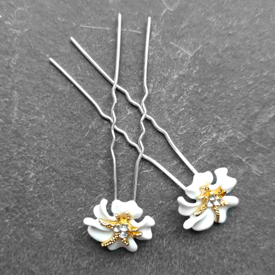 Zilverkleurige Hairpins – Bloem - Wit - Diamantjes - 2 stuks-7