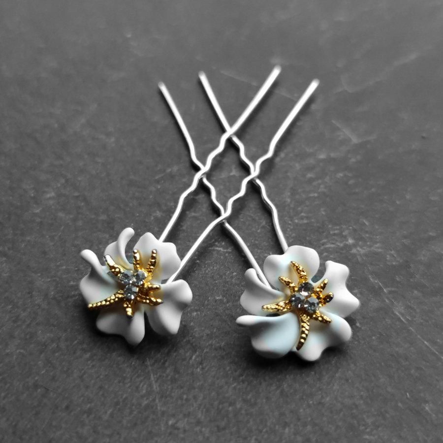 Zilverkleurige Hairpins – Bloem - Wit - Diamantjes - 2 stuks-3