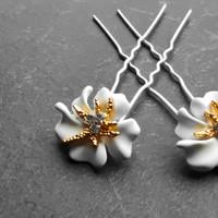 thumb-Zilverkleurige Hairpins – Bloem - Wit - Diamantjes - 2 stuks-4