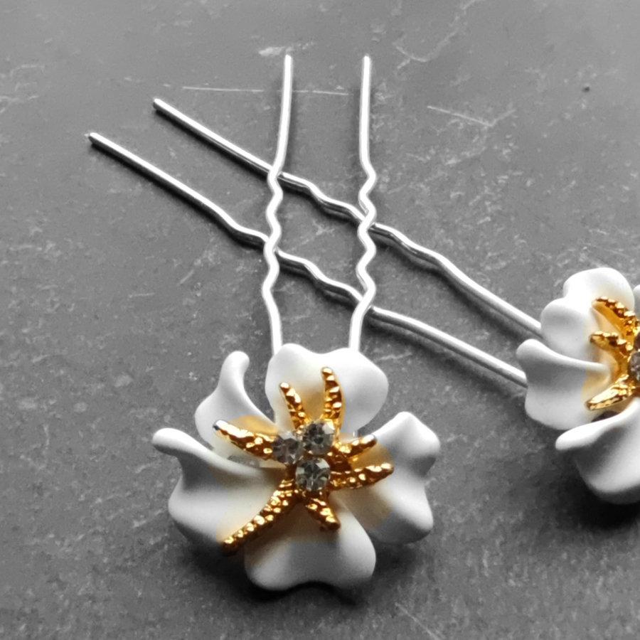 Zilverkleurige Hairpins – Bloem - Wit - Diamantjes - 2 stuks-5