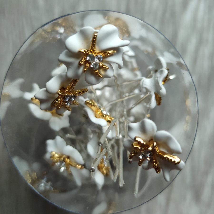 Zilverkleurige Hairpins – Bloem - Wit - Diamantjes - 2 stuks-8