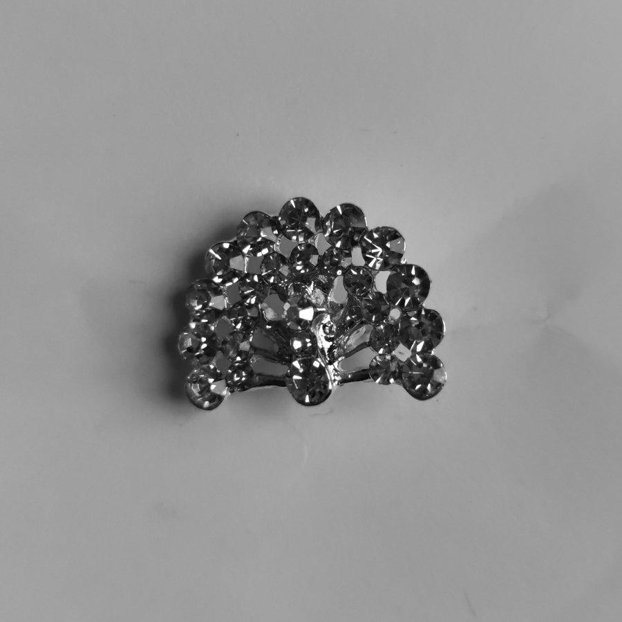 Zilverkleurige Hairpins – Pauw - Diamantjes - 5 stuks-2