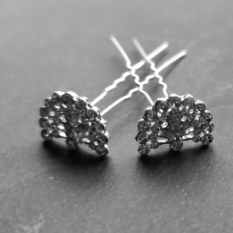 Zilverkleurige Hairpins – Pauw - Diamantjes - 5 stuks-3
