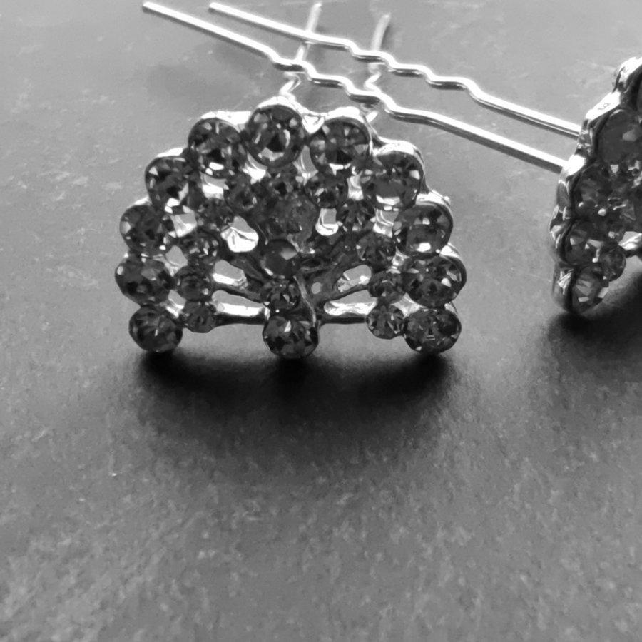 Zilverkleurige Hairpins – Pauw - Diamantjes - 5 stuks-4